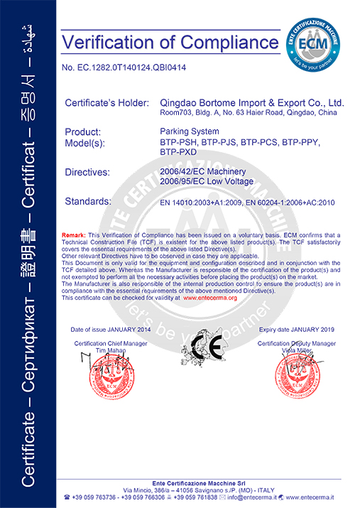CE for parking system
